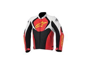 Alpinestars Jaws Perforated Leather Motorcycle Jacket White/Red/Yellow 38