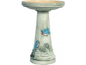 Bluebird Birdbath w/ Glazed Interior Pedestal Set by Burley Clay Wild Bird Bath