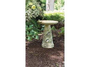 Burley Clay Chickadee Clay Birdbath and Pedestal stand bird bath