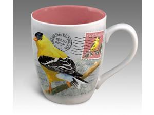 American Expedition Goldfinch Vintage Bird Postcard Stoneware Coffee Mug