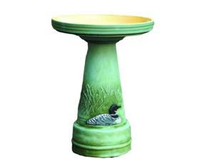 Burley Clay Great Northern Loon Birdbath and Pedestal stand bird bath