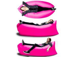 Inflatable LayAbout Lounger - Convenient and Portable Compression Nylon Outdoor Sleeping Air Bean Bag - Perfect Sofa Chair Couch for Hangouts, Beach, and Camping (Pink)