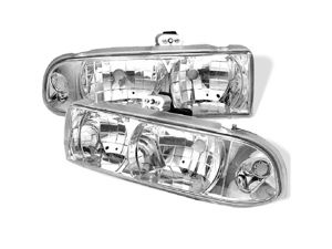 Chevy S10 1998 99 2000 01 02 03 04 Crystal Headlights - Chrome
