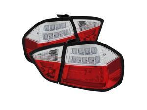 BMW E90 3-Series 06-08 4Dr LED Indicator Light Bar LED Tail Lights - Red Clear