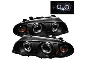 BMW E46 3-Series 1999-2001 4Dr Halo Amber Projector Headlights - Black-~*~* NEW!