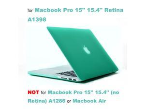 """Rubberized Hard Case Laptop Shell + Keyboard Skin + Screen Protector for Apple Macbook Pro 15"""" 15.4"""" Retina Display A1398 - Turquoise"""