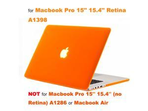"Rubberized Hard Case Laptop Shell + Keyboard Skin + Screen Protector for Apple Macbook Pro 15"" 15.4"" Retina Display A1398 - Orange"