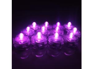 12X - Pink-Purple - Submersible Waterproof Underwater Tea Light Sub Lights Battery LED TeaLight - Wedding Centerpieces, Decor