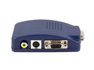 Computer Laptop PC VGA to TV AV, RCA, S-Video, HD15(VGA) Converter Adapter Box Composite - Blue