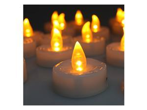 Set Of 100 Flameless & Smokeless Realistic Light LED Candles Tealights Amber Yellow Operated On Batteries
