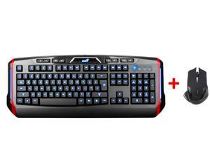 LED Illuminated Ergonomic USB Wired Multimedia Blue/ Red/ Purple Backlit Switchable Gaming Keyboard w/ 2500DPI USB 2.4GHz ...