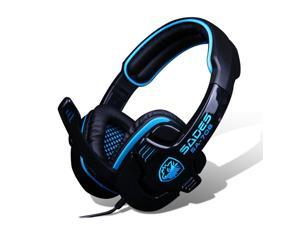 Sades SA-708 PC Gaming Headset w/ Microphone, Volume Control, 180cm Cable (Black Blue)
