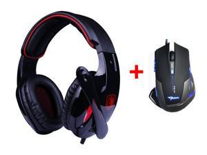 7.1 Surround Professional USB 2.0 Gaming Headset Headphones w/ Mic + 2500DPI LED Optical USB Wired Pro Gaming Mouse Mice for PC Laptop