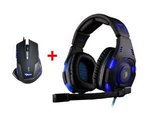 Over-ear Professional Stereo Headset Headband Pc Pro WCG Games Headphones + 2500DPI LED Optical USB Wired Pro Gaming Mouse Mice for PC Laptop Mac