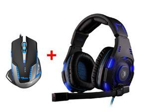 Over-ear Professional Stereo Headset Headband Pc Pro WCG Games Headphones w/ 2500 DPI Blue LED Optical USB Wired Gaming Mouse Mice for PC Laptop