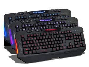AGPtek USB Wired Blue/Red/Purple LED Illuminated Backlight Gaming Keyboard for Desktop PC Laptop - Shortcut Keys, Multimedia