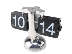 Retro Modern Metal Scale Digital Auto Flip Single Stand Metal Desk Table Clock