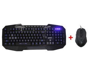 AGPtek LED Illuminated Ergonomic USB Wired Multimedia Blue Backlight  Gaming Keyboard with 3500DPI Adjustable 4-Level DPI LED USB Gaming Mouse for Desktop PC Laptop