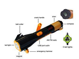 Hand-Crank Powered Dynamo LED Flashlight w/ AM/FM Radio & Phone Charger