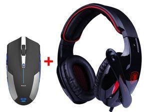 7.1 Surround Professional USB 2.0 Gaming Headset Headphones w/ Mic + 2.4GHz Blue LED 6 Button Optical USB Wireless Gaming Mouse for Desktop PC Laptop Mac Gamer