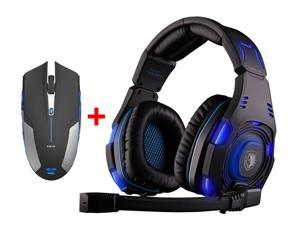 Over-ear Professional Stereo Headset Headband PC Pro WCG Games headphones + 2.4GHz Blue LED 6 Button Optical USB Wireless Gaming Mouse for Desktop PC Laptop Mac Gamer