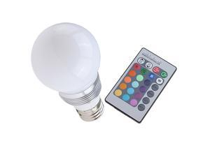 Brainydeal Wireless Remote Control 16 Color LED Light Bulb E27 3W
