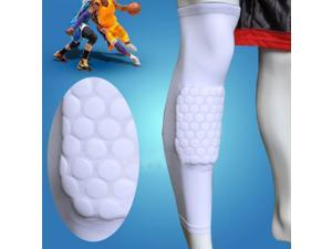 XL Size Honeycomb Pad Crashproof Antislip Basketball Leg Knee Long Sleeve Protector Gear White