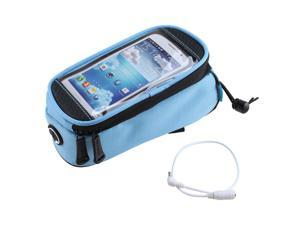 Water Resistant Polyester Cycling Bike Bicycle Frame Pannier Front Tube Bag with Eflective Strip for 4.8 inch Cell Phone Sky-Blue