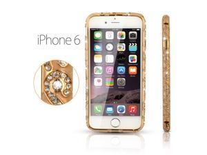 "Luxury Crystal Rhinestone Bling Aluminum Metal Bumper for iPhone 6 4.7"" Gold"
