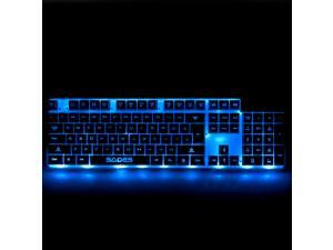 SADES Red Blue Purple 3 Colors LED Backlight USB Gaming Keyboard, 104 Keys (White)