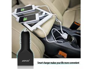 [Most Powerful Car Charger Ever]AGPTEK Intelligent 7.2A 3 USB Car Charger With Smart Sharing IC for each USB Port-tarnish, Fast charger 36W/7.2A, Triple USB Ports, Supports 12V-24V Input