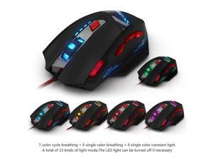 Zelotes T90 USB Wired Gaming Mouse,1000/1600/2400/3200/5500/8000 DPI High Precision Optical LED Game Mouse Mice 8 Buttons for Pro Gamer