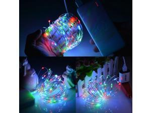 USB Operated LED String Lights Ultra Thin Copper Wire waterproofStarry Light (with 5V 2A USB charger)For Christmas Wedding and Party Halloween,decoration 100 individualLED RGB color multi-color