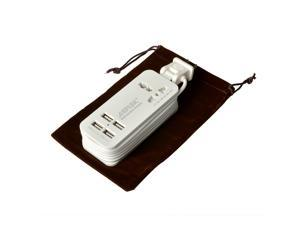 Universal Travel Outlets 4-Port USB Charger , Portable Power Strip Travel Charger 1.5M/5ft Power Supply Cord 5V 1A/5V 2A USB Output (Auto detect ) Maximum Wattage:21W overall