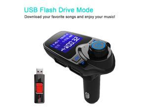 AGPtEK Wireless In-Car Bluetooth 3.0+EDR FM Transmitter Radio Adapter Car MP3 Player Handsfree Kit with 1.44In. Display 2.1A USB Car Charger MP3 Player Read Micro SD (TF) Card and USB Flash Drive