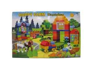 DimpleChild 90 Piece Happy Farm Set Building Bricks with Horses, Minifigures and Assorted Shapes DC5107
