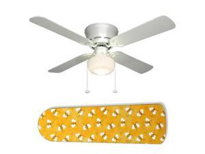 """Sweet Yellow Bumble Bees 42"""" Ceiling Fan with Lamp"""