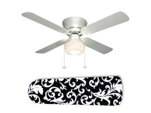 """Classic Design Black and White Damask 42"""" Ceiling Fan with Lamp"""