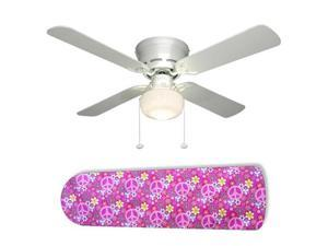 """Pretty Pink Peace Signs 42"""" Ceiling Fan with Lamp"""