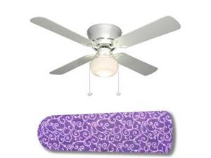 """Purple Passion White Swirls 42"""" Ceiling Fan with Lamp"""