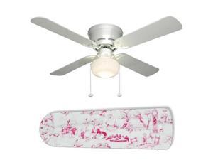 """Pink Toile Nursery Girls 42"""" Ceiling Fan with Lamp"""