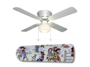 "Rodeo Kids Cowgirl 42"" Ceiling Fan with Lamp"