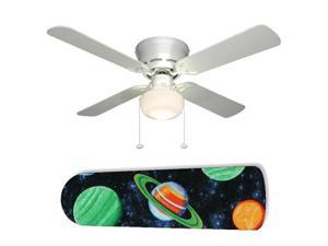 "Planets Stars Outer Space 42"" Ceiling Fan with Lamp"