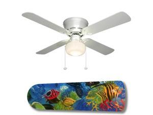 "Tropical Fish Coral Reef 42"" Ceiling Fan with Lamp"