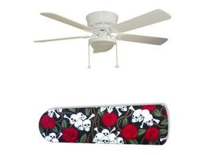 """Skulls and Roses 52"""" Ceiling Fan with Lamp"""