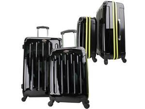 "Swiss Case 28"" BLACK/YELLOW 4 Wheel Hard Suitcase + FREE Carry-on 20"" luggage set"