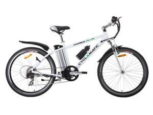 Cyclamatic Power Plus Mountain Electric Bike with Lithium-Ion Battery - White