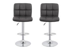 2 x Homegear M2 Contemporary Adjustable Swivel Faux Leather Bar Stools Black