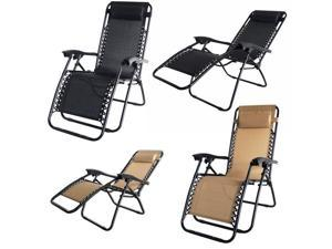 2 Pack of Palm Springs Zero Gravity Chairs Outdoor Yard Patio Chairs - Tan