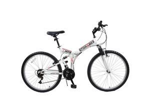 "Stowabike 26"" MTB V2 Folding Dual Suspension 18 Speed Gears Mountain Bike - White"
